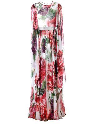 Шелковое с рукавами платье макси с поясом Dolce & Gabbana