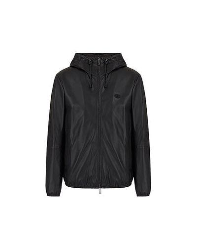 Черная кожаная кожаная куртка Emporio Armani