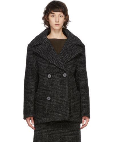 С рукавами черная длинная куртка с подкладкой Proenza Schouler
