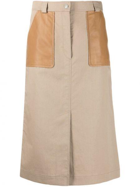 С завышенной талией кожаная юбка миди с карманами Yves Salomon