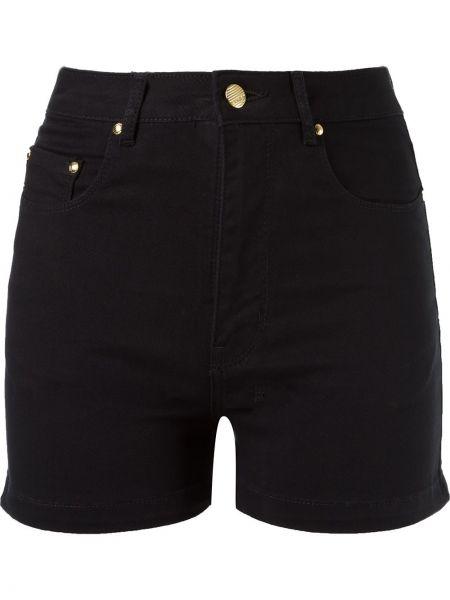 Черные джинсовые шорты на пуговицах со стразами Amapô