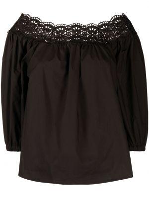 Прямая хлопковая черная блузка P.a.r.o.s.h.