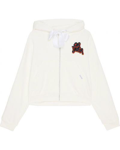 Белое пальто с капюшоном оверсайз Forte Couture