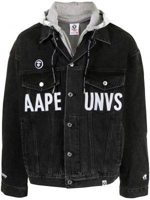 Хлопковая черная джинсовая куртка с капюшоном Aape By A Bathing Ape