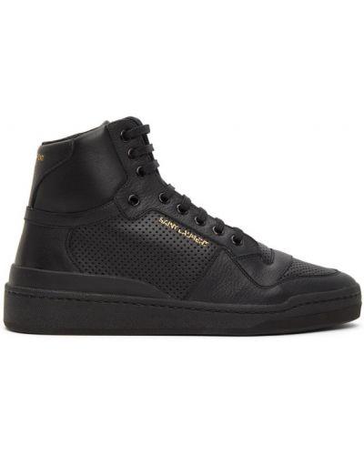 Skórzany czarny wysoki sneakersy perforowany z siatką Saint Laurent