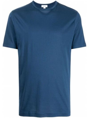 Синяя футболка с короткими рукавами Sunspel