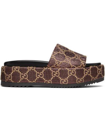 Skórzany czarny sandały okrągły na klinie Gucci