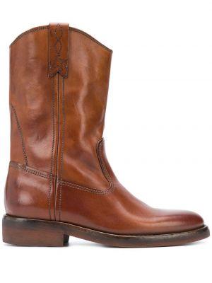 Złoty brązowy kowboj buty z prawdziwej skóry z haftem Golden Goose