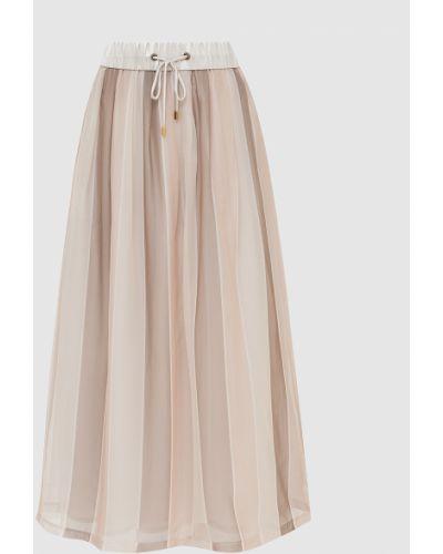 Бежевая шелковая юбка макси Peserico