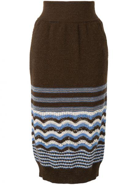 Коричневая юбка с поясом из альпаки винтажная Coohem