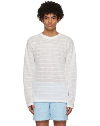 Biały t-shirt z długimi rękawami bawełniany Martin Asbjorn