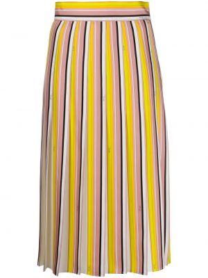 Розовая шелковая прямая юбка Emilio Pucci