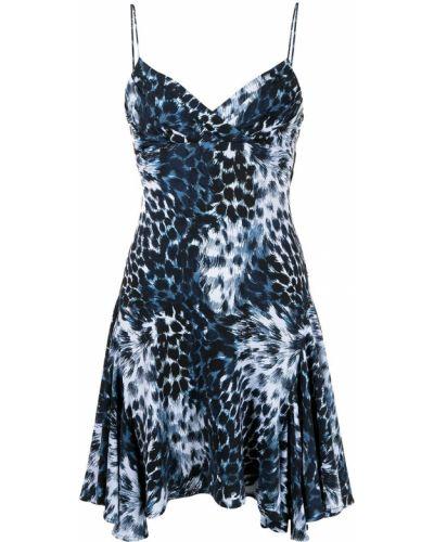 Прямое синее платье с вырезом Roberto Cavalli