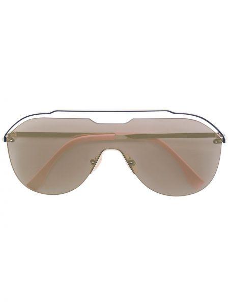 Прямые розовые солнцезащитные очки металлические Fendi Eyewear