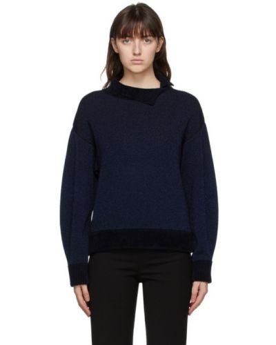 Серебряный длинный свитер с люрексом с воротником 3.1 Phillip Lim
