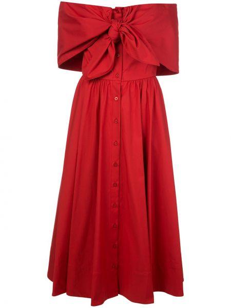 Хлопковое красное приталенное платье со спущенными плечами Oscar De La Renta