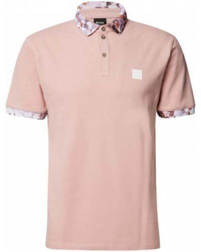 Różowa koszulka prążkowana Boss Casualwear