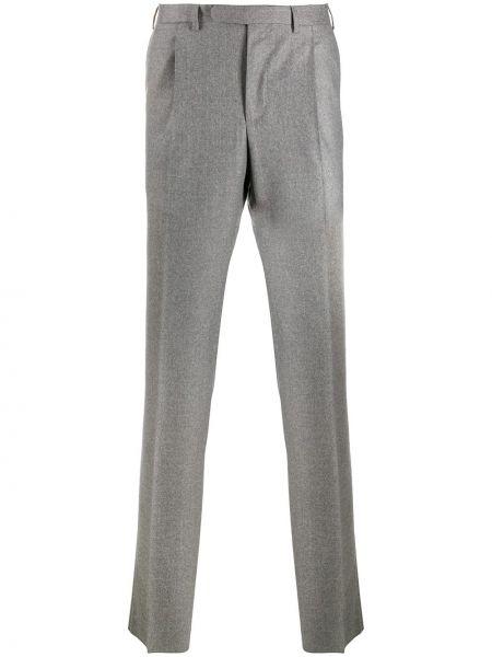 Шерстяные серые прямые прямые брюки на пуговицах Borrelli