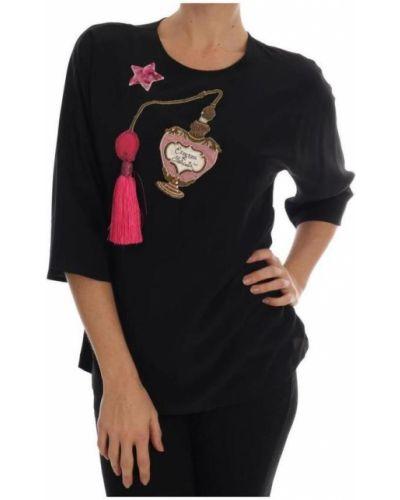 Czarny top krótki rękaw z cekinami Dolce And Gabbana
