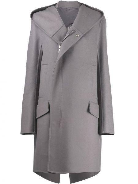 Płaszcz z kapturem wełniany z kieszeniami Rick Owens