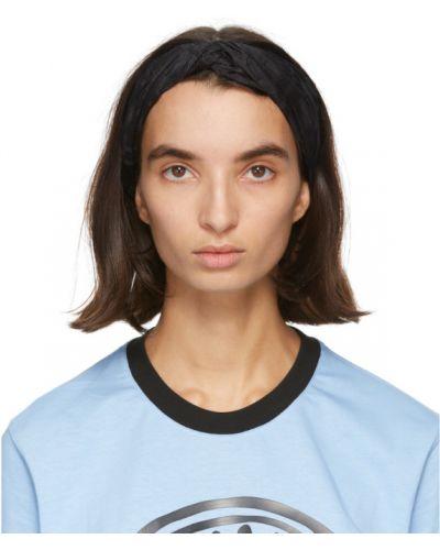 Jedwab czarny opaska na głowę Fendi