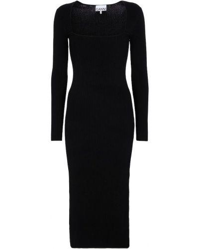 Черное платье миди Ganni