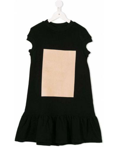 Платье с рукавами черное в рубчик Ioana Ciolacu Kids