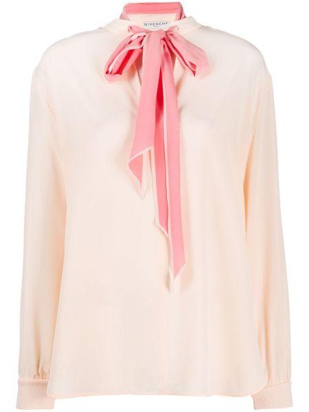 Różowy światło długo bluzka z logo Givenchy