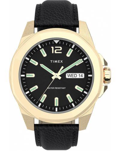 Czarny zegarek kwarcowy skórzany z paskiem Timex