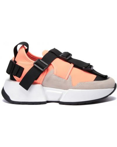 Оранжевые кожаные кроссовки без застежки Doria Maria
