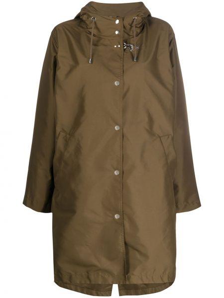 Зеленый длинное пальто с капюшоном свободного кроя Fay