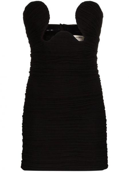 Платье мини на молнии со складками Saint Laurent