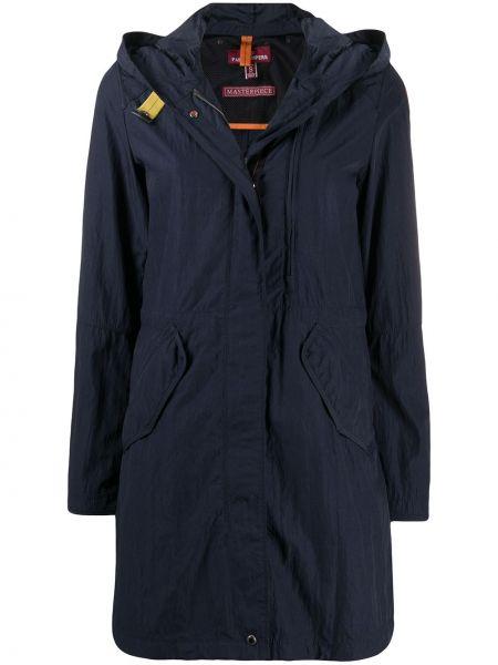 Синяя длинное пальто с капюшоном на молнии Parajumpers