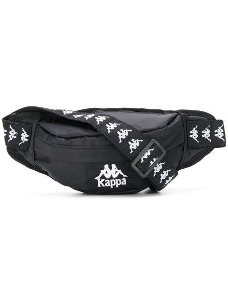Czarny pasek z paskiem z haftem Kappa