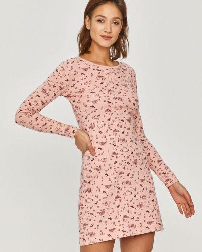 Różowa piżama z koszulą bawełniana z długimi rękawami Answear Lab