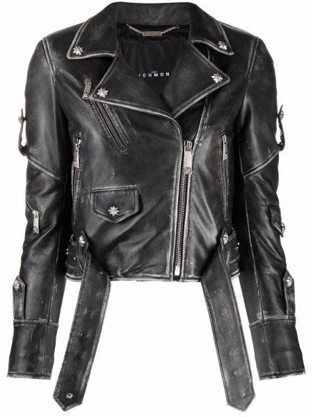 Кожаная куртка на молнии - черная John Richmond