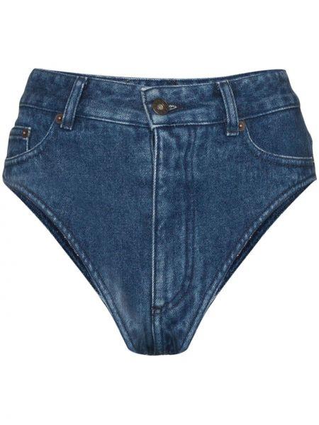 Синие хлопковые джинсовые шорты на молнии Y/project