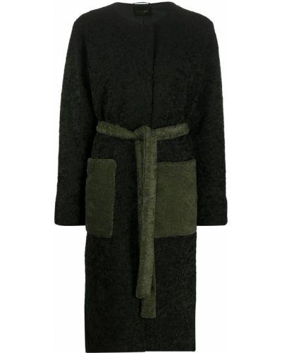 Черное длинное пальто с поясом из вискозы с вырезом Stine Goya