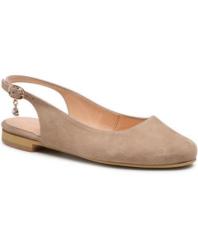 Sandały skórzane - beżowe Baldaccini