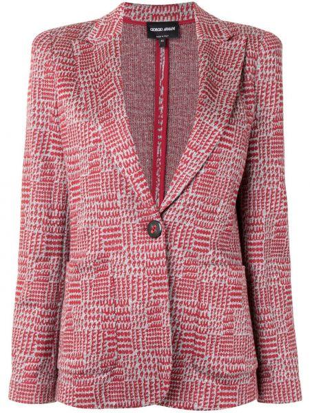 Однобортный красный удлиненный пиджак на пуговицах Giorgio Armani