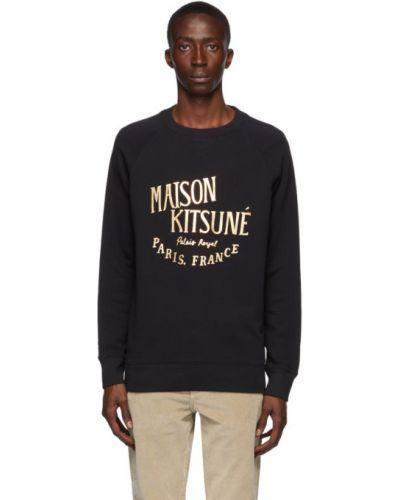 Frotte czarny bluza z kołnierzem z mankietami Maison Kitsune