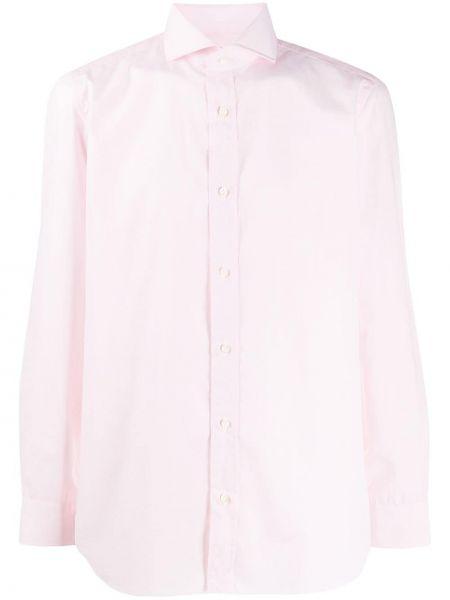 С рукавами розовая рубашка с воротником на пуговицах Borrelli