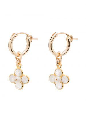 Białe złote kolczyki sztyfty perły Brinker & Eliza