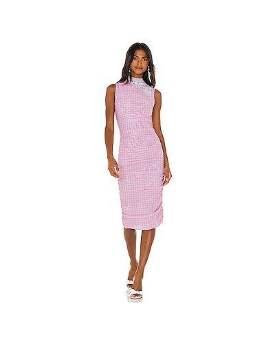 Розовое платье с воротником с сеткой Miaou