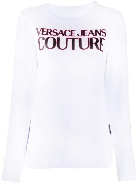 Хлопковые прямые белые джинсы Versace Jeans Couture