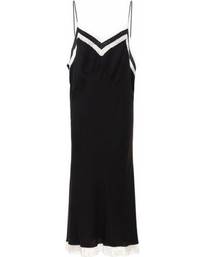 Шелковое кружевное черное платье миди Miu Miu