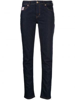 Синие джинсы-скинни с низкой посадкой с нашивками Versace Jeans Couture