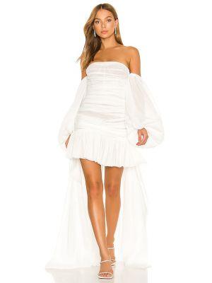 Шелковое белое платье макси с декольте Bronx And Banco