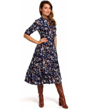 Ciepła sukienka midi z wiskozy w kwiaty Style