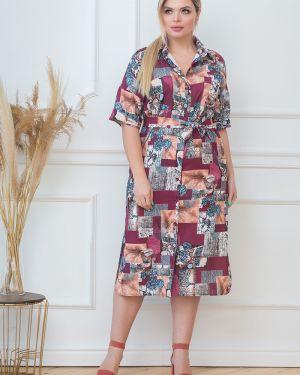 Платье с поясом на пуговицах из штапеля Valentina